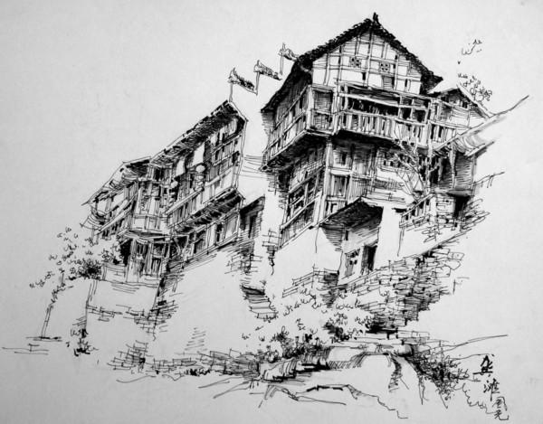 建筑学学生手绘图纸